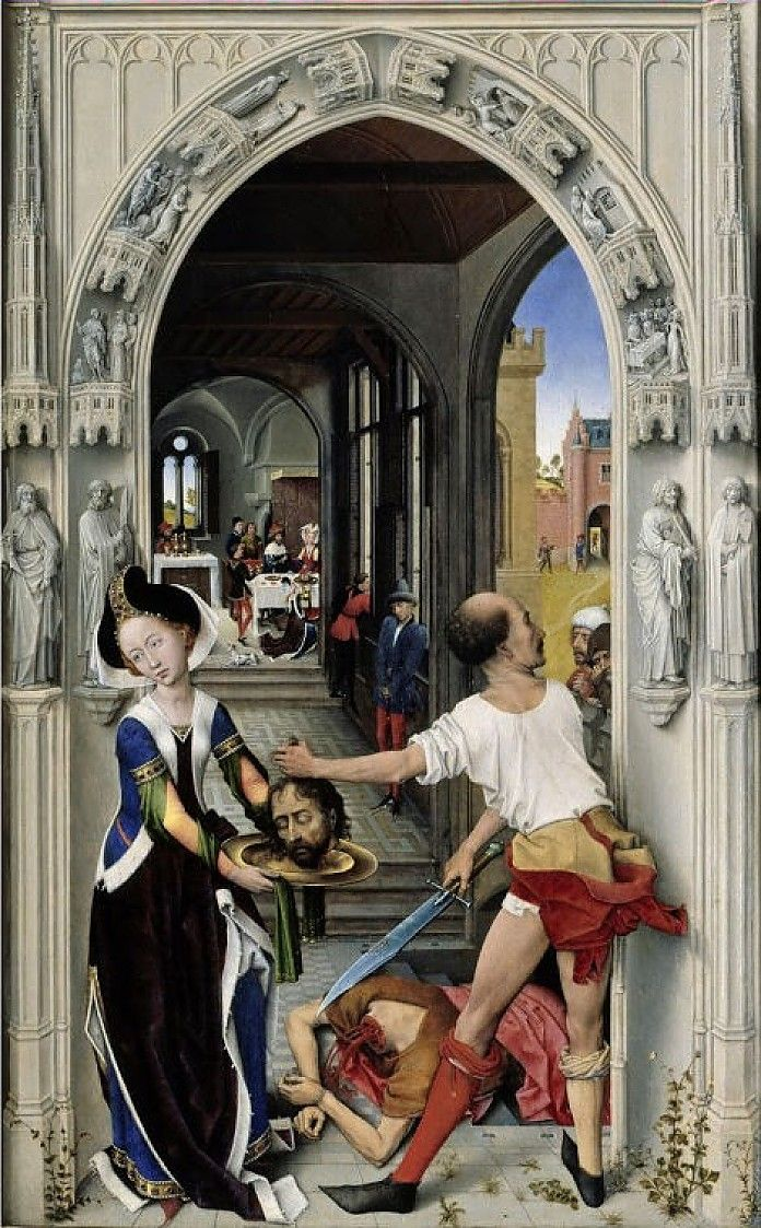 Rogier van der Weyden, De onthoofding van Johannes de Doper (rechter paneel van het Johannes de Doper altaar), ca. 1455, olieverf op eiken paneel, 77 x 48 cm, Staatliche Museen zu Berlin, Gemäldegalerie.
