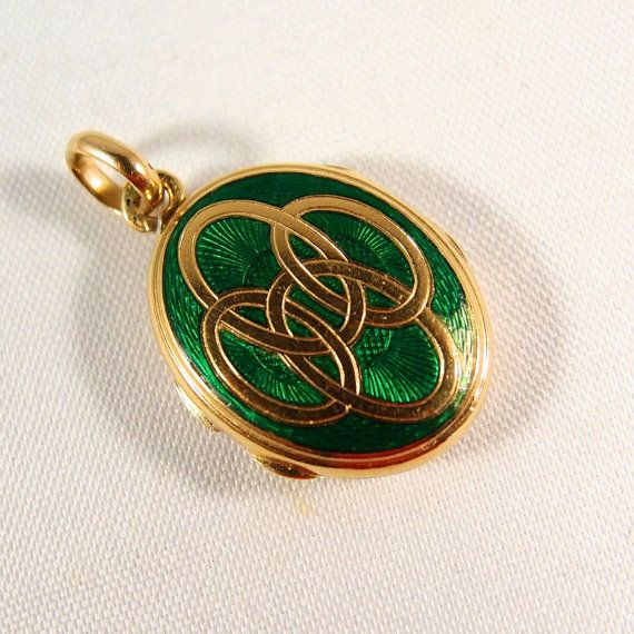 18K solid gold guilloche and green enamel by MidwestArtObjects