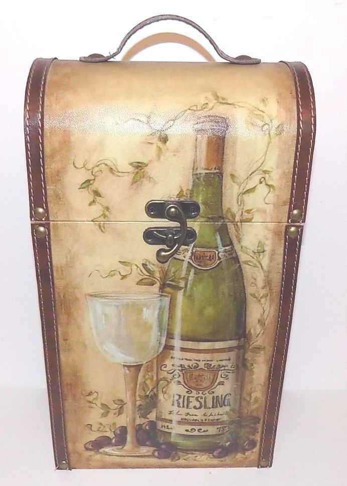 Decorative Wine Carrying Box Leather Trim Handle Holds 2 Large Bottles of Wine #Unbranded