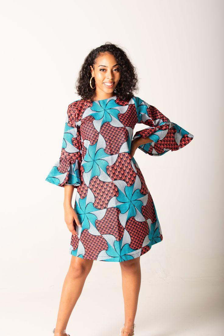 Mandisa Long Sleeves Shift Dress In 2019 Chitenge
