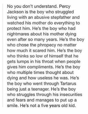 Percy is not a cupcake he is a sincere, pessimistic, dark kid who is scary. As much as we want him to be a teddy bear that's not what he is