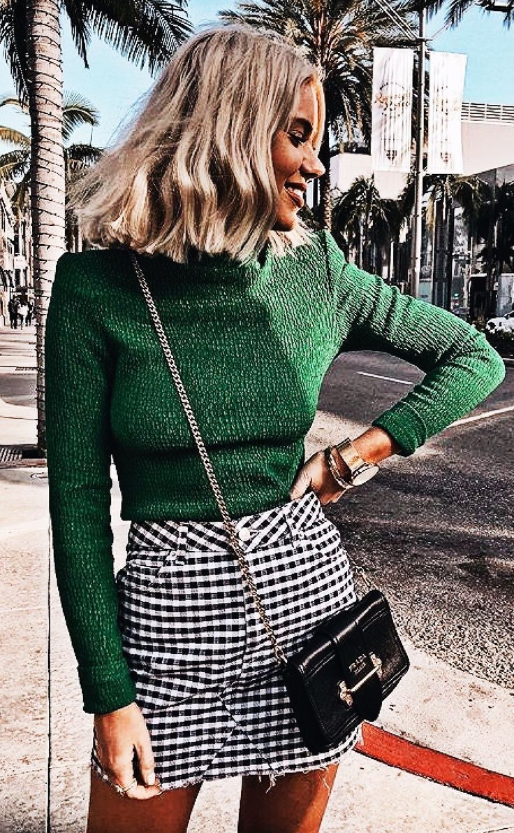 green sweater, black and white checked skirt – casual fall outfit, winter outfit, style, outfit inspiration, millennial fashion, street style, boho, v…