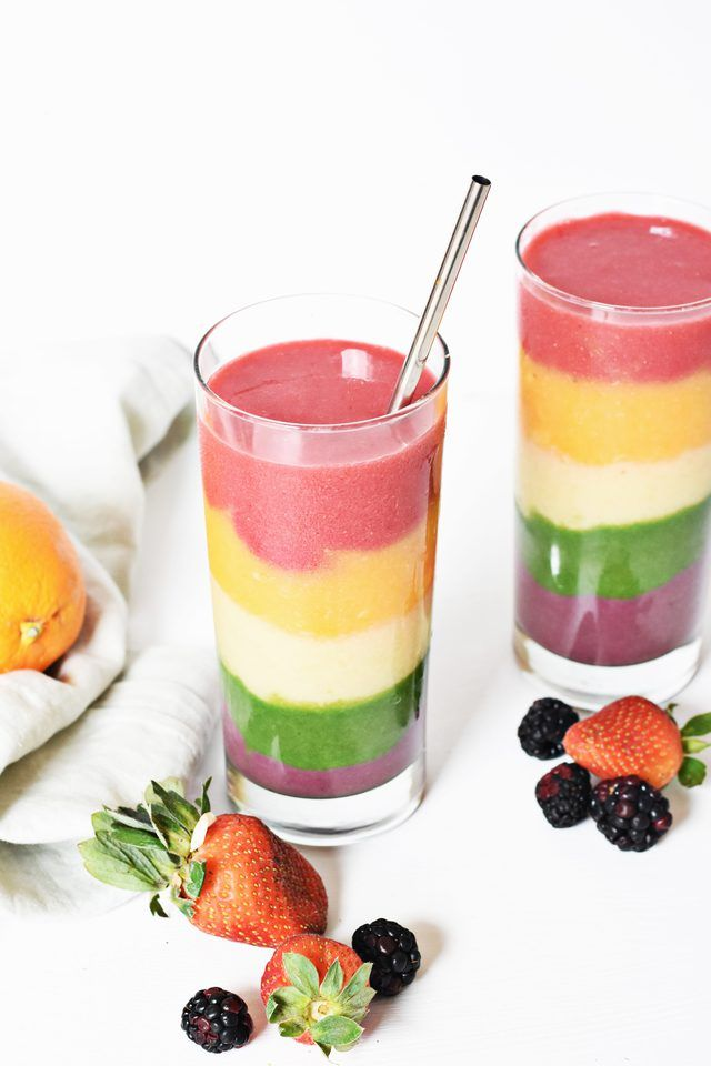 Learn how to make a rainbow smoothie. It's a fun twist on a regular smoothie, and it's packed with various flavors and color.