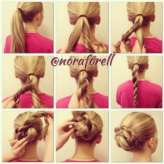 Easy updo, just keep twisting! Can be worn at just about any occasion from a casual coffee date to a big business meeting.