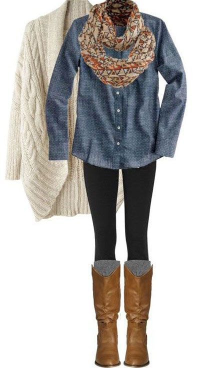 Black tights, light brown boots, denim shirt, colourful scarf, beige long jersey