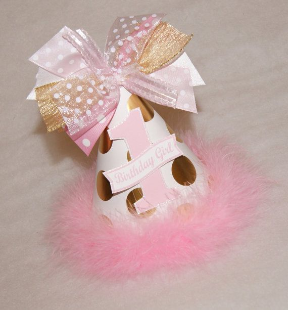NEW Gold and Pink Polka Dot Party Hat  Princess Glam by shoplissy, $13.50