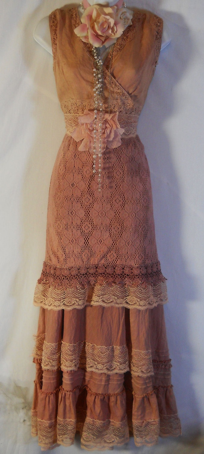 Boho maxi dress tea stained cotton rustic shabby wedding for Boho country wedding dress