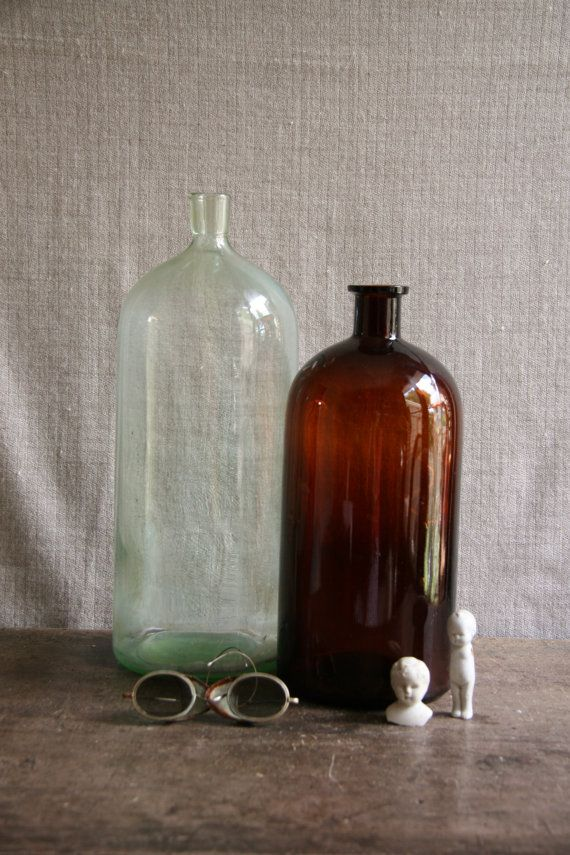 Vintage Extra Large Glass Apothecary Bottles Glass by FoundByHer