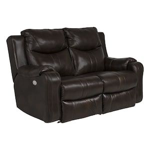 Marvel Leather Power Reclining Loveseat with Power Headrest in Palazzo