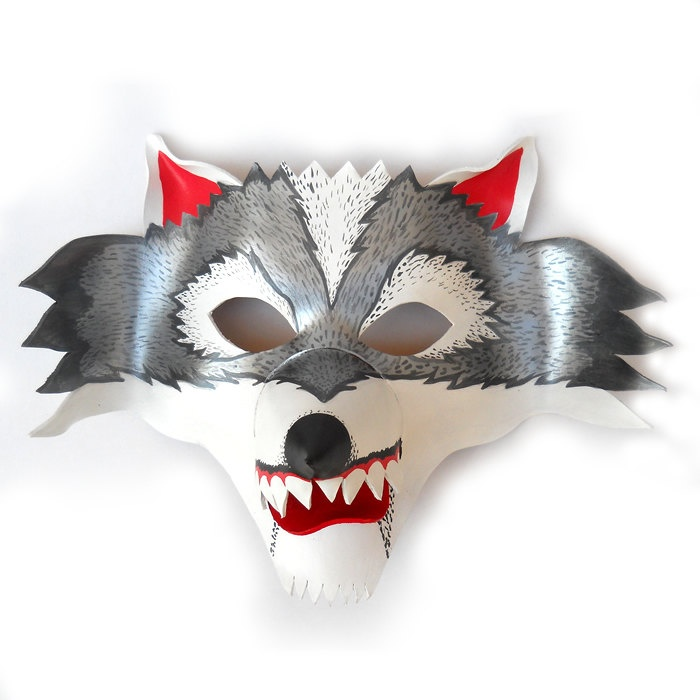 animal wolf leather mask white and grey circus halloween costume kids boys girls carnival party mardi - Kids Halloween Masks