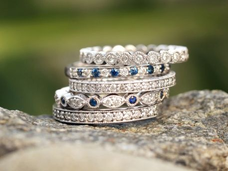 rings, stacking, diamond,  jewelry, white, blue, trend, fashion, pretty, beautiful