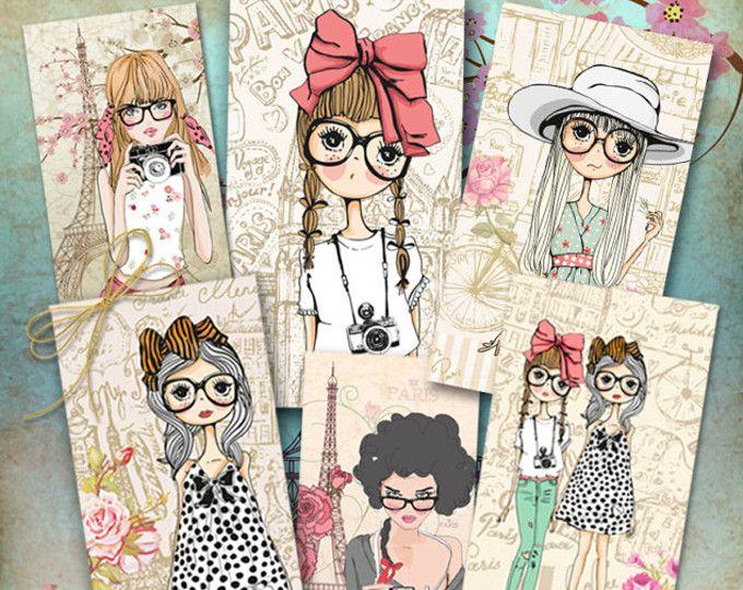 Digital para imprimir imágenes de amantes de la moda en París arte para descargar etiquetas, carros, hoja de collage, las muchachas adolescentes de impresión usted mismo regalo tarjetas de felicitación