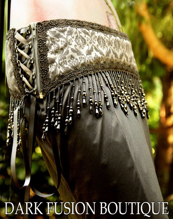 Belt 2 SIZES Black and Gray Brocade Beads by darkfusionboutique, $60.00