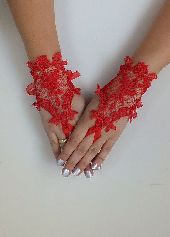 Red French Lace Fingerless Gloves