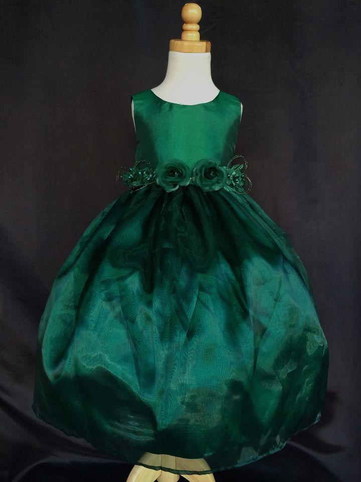 Flower Girl Bridesmaids Formal Crystal Organza Hunter Green Dress #ForeverMyPrincess #DressyHolidayPageantWedding