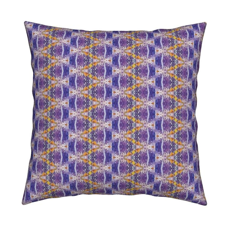 Catalan Throw Pillow featuring WATERCOLOR FLOWERS GARLAND STRIPES PURPLE YELLOW by paysmage | Roostery Home Decor