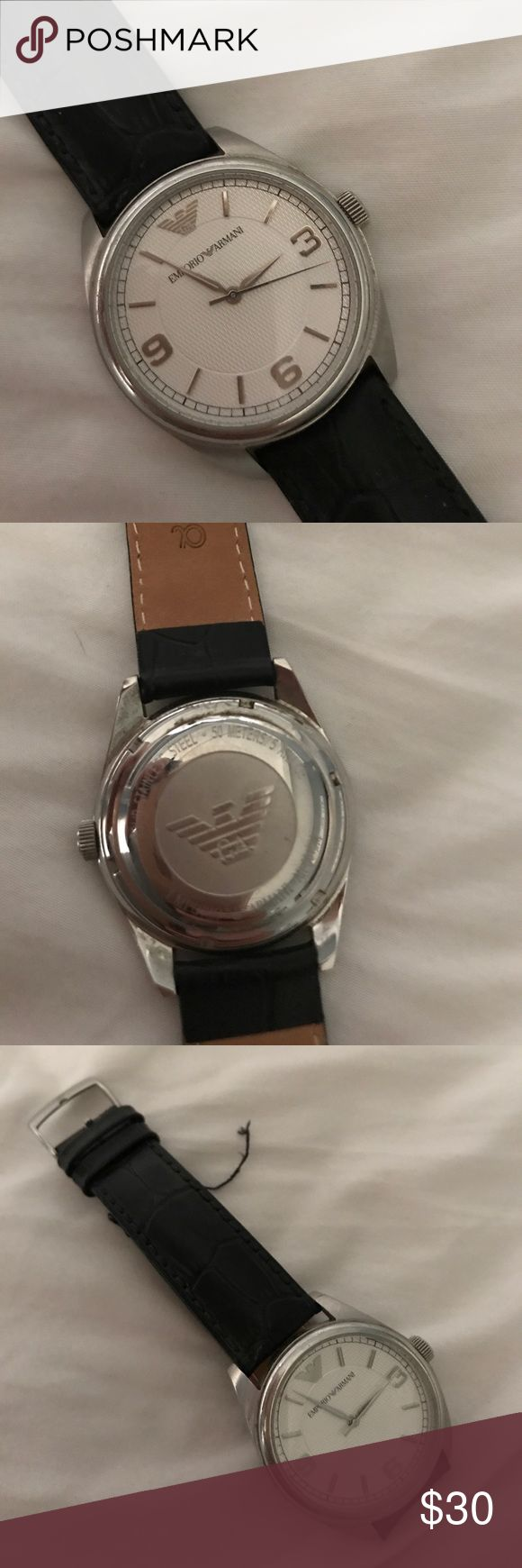 Emporio Armani Men's watch - works Works excellently. New battery.  Strap is broken just needs replacement. (15$ at any jeweler).  Husband hasn't worn in a while. Offers reviewsed. Auth. Emporio Armani Accessories Watches