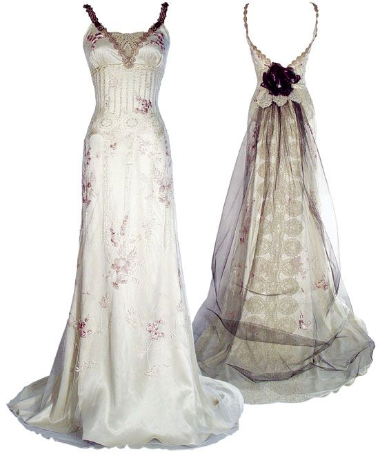 More Claire Pettibone - this time, I am in love with the accent colors, and how the train is put together, and am probably intending to use that very dark plum color in accent.