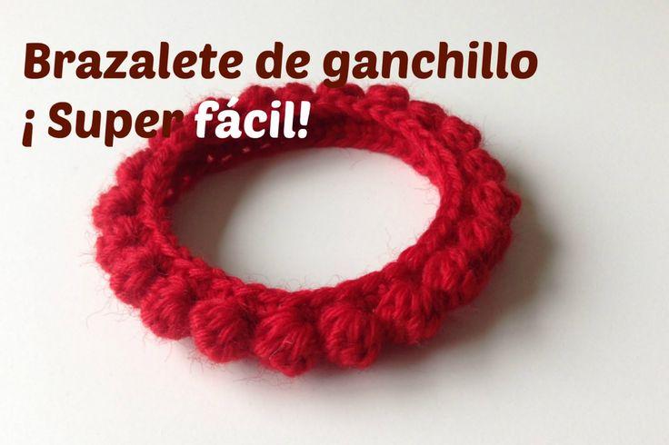 Brazalete de ganchillo, tejido con lana