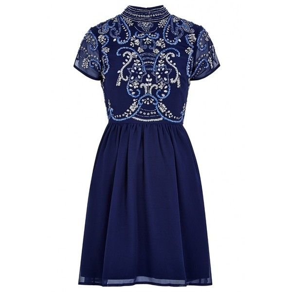 Frock and Frill Sequin Embellished Bodice Skater Dress ($160) ❤ liked on Polyvore featuring dresses, beaded dress, short-sleeve skater dresses, key hole dress, blue dress and short-sleeve dresses