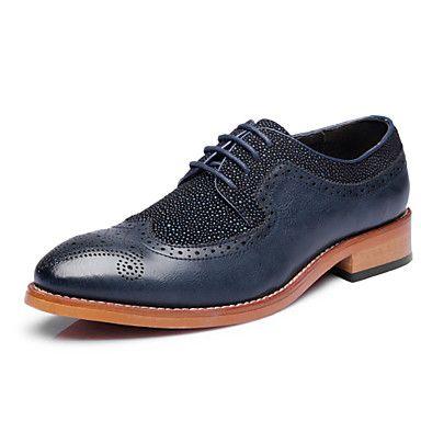 Черный+/+Синий+Мужская+обувь+Свадьба+/+Для+офиса+/+Для+вечеринки+/+ужина+Лакированная+кожа+Оксфорды+–+RUB+p.+2+329,42