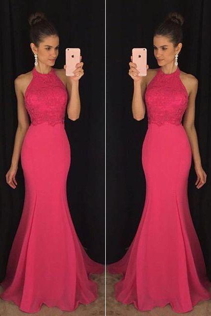 2017 New Prom Dress,Pink Mermaid Evening Prom Dresses,Long Party Prom Dress,Formal Prom Dresses