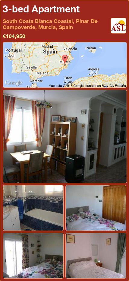 3-bed Apartment in South Costa Blanca   Coastal, Pinar De Campoverde, Murcia, Spain ►€104,950 #PropertyForSaleInSpain