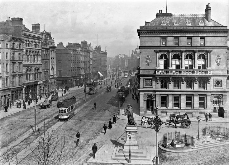 This lovely shot of Westmoreland Street from a high viewpoint is from the Eason Collection, and is todays offering. It even includes a tram, or so the cataloguer says, but I can see a couple of others nearer the bridge. No bazaars or arcades here - but lots of people and modes of transport! As location was already confirmed, much of the discussion (below) on this image centered on the date. The lower-end of the catalogue range (1900) seems about right - though Clery's and the Imperial ...