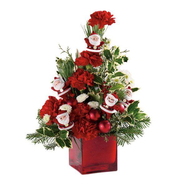 Christmas Flower Arrangement - Dancing Santas
