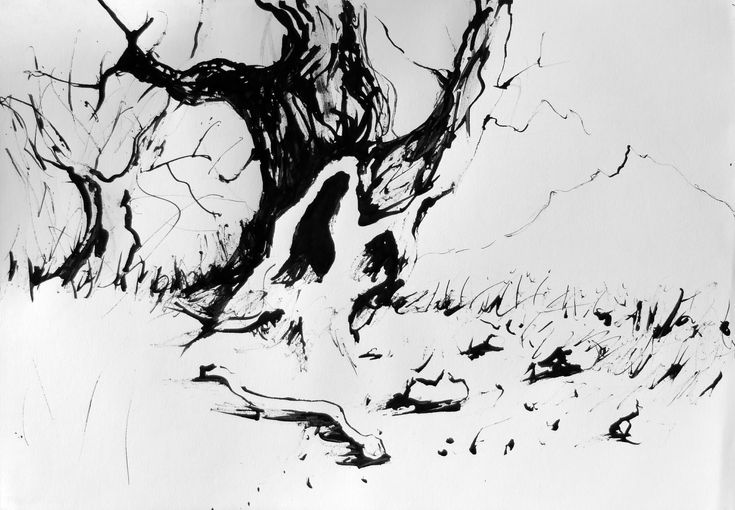Landscape, Tree, ink on paper