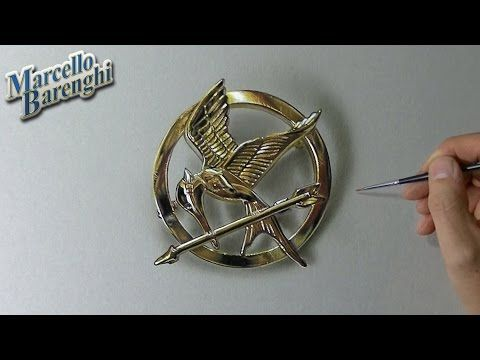 The Hunger Games: Mockingjay pin - drawing time lapse - YouTube