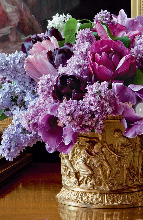 Great spring feel with the lilacs. Love the shades of purple and the soft feel    Carolyne Roehm