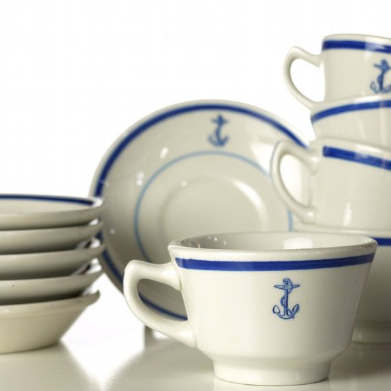 Vintage U.S. Navy Mess Hall Cup & Saucer, 1940s.  Darling!