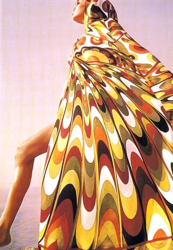 Designers inspired by 60's. Pucci's prints remind me of the op art in the 60's.