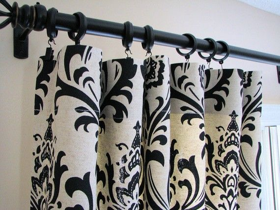 Pair Of Decorative Designer Custom Curtains Drapes 50 X 84 Black And  Natural Damask Contemporary Modern