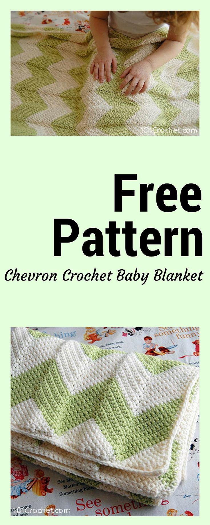 Free Chevron Crochet Baby Blanket Pattern - 101 Crochet - #freecrochetpatterns