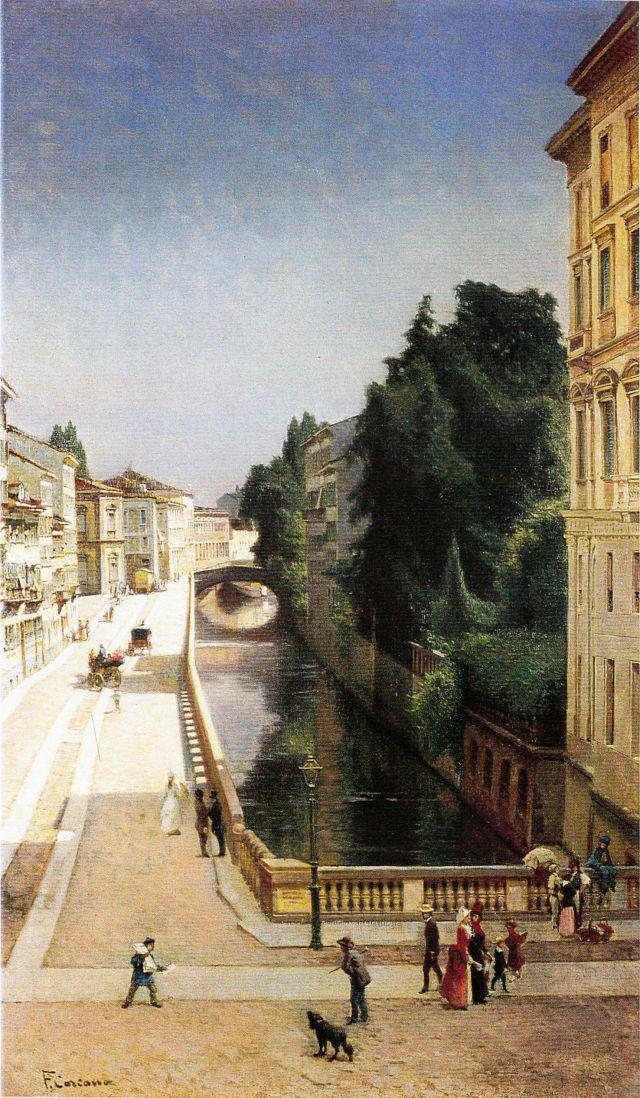 Il Naviglio di via Senato, ca 1875 -  Filippo Carcano - Museo di Milano. https://filippocarcano.com/author/archiviodelverbanocusioossola/
