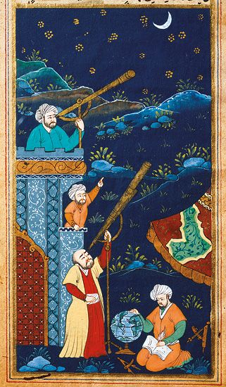 Study of the moon and stars. Ottoman miniature from 17th century. Istanbul.