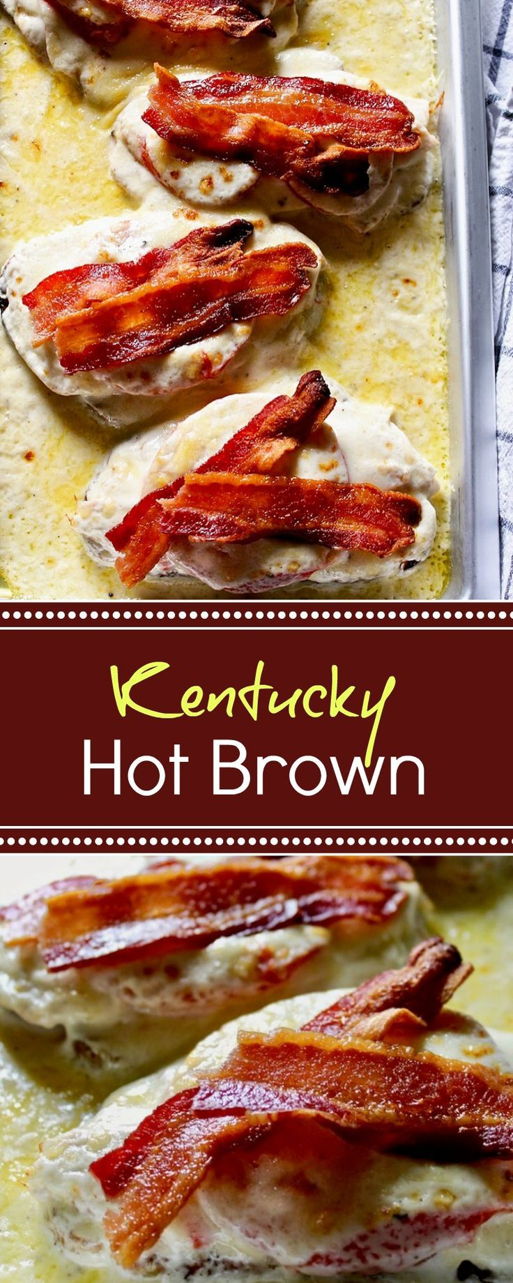 Kentucky Hot Brown, classic broiled turkey, tomato, bacon sandwich covered in cheese sauce.
