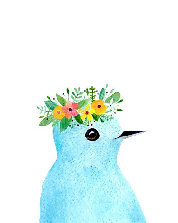 Watercolor bird Woodland nursery Animal Paintings by zuhalkanar