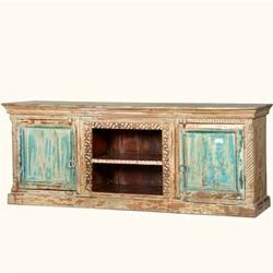 "71"" Rustic Vintage Style Hand Carved Winter Sky TV Stand Media Console"
