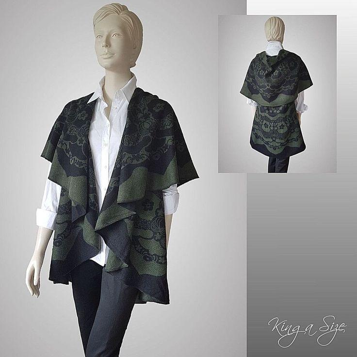 Poncho Lagenlook Cape Damen warme Wende Tweed Umhang RUND grün schwarz