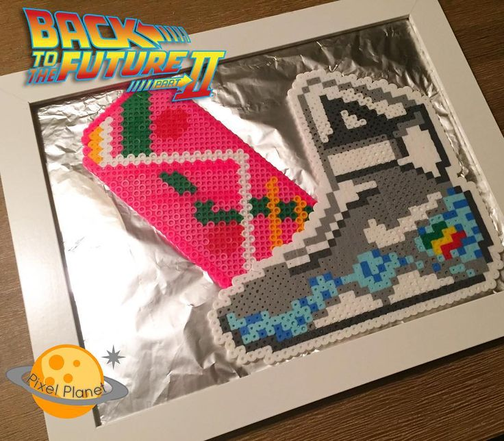 You mean we're in the future!? #perler #pixel #beads  #pixelart #bttf #bttf2015 #backtothefuture #backtothefuturepart2 #mcfly #nike #hoverboard #2015 #nike #perlerbeads
