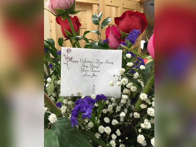 This woman has been left stunned after receiving roses from her dead husband