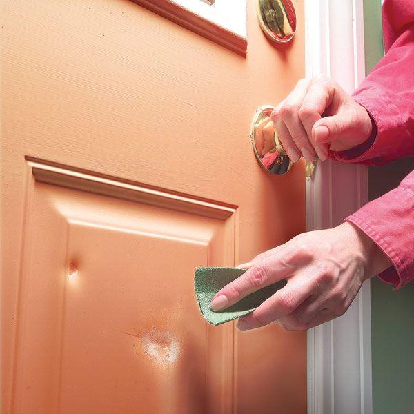Repair metal door dents...instructions on how to make it look new again -  simple three-step repair.