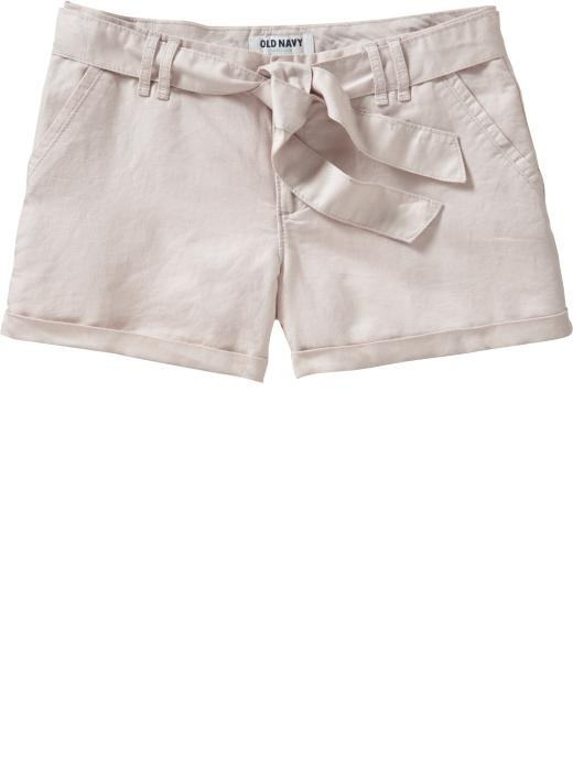 Great Old Navy Shorts for $13...amazing!: Closet Runeth, Old Navy Shorts, Women Fashion, Ties Belts Shorts, Linens Blend Ties Belts, Clothing, Old Navy Women, Fashion Trends, Tiebelt Shorts