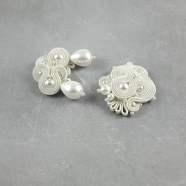 Wedding earrings studs. Bridal brooch. Pearls Soutache Earrings and brooch jewelry set. Wedding earrings pearl. Handmade Wedding Earrings. by byPiLLowDesign on Etsy