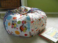 "Tutorial: Sew your own bean bag chair · I want to try to sew a bean bag cover(or 2) that can zip open to store all the kids stuffed animals (for ""Aniville"" their imaginary stuffed animal world that is HEAVILY populated at the moment)"