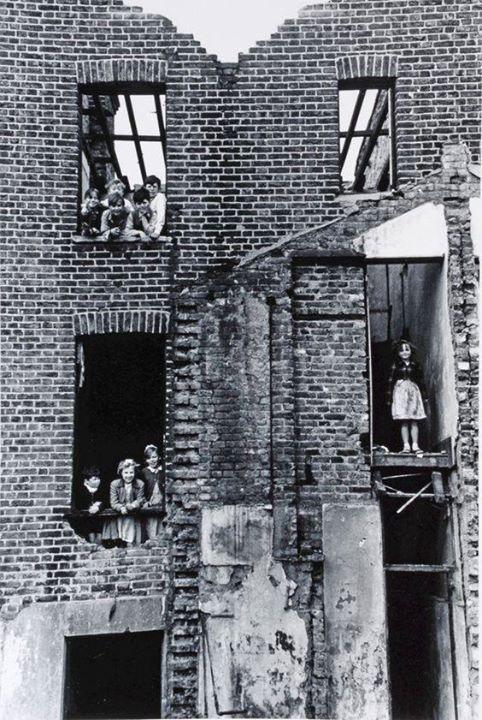 Children in bombed building  Bermondsey London 1954