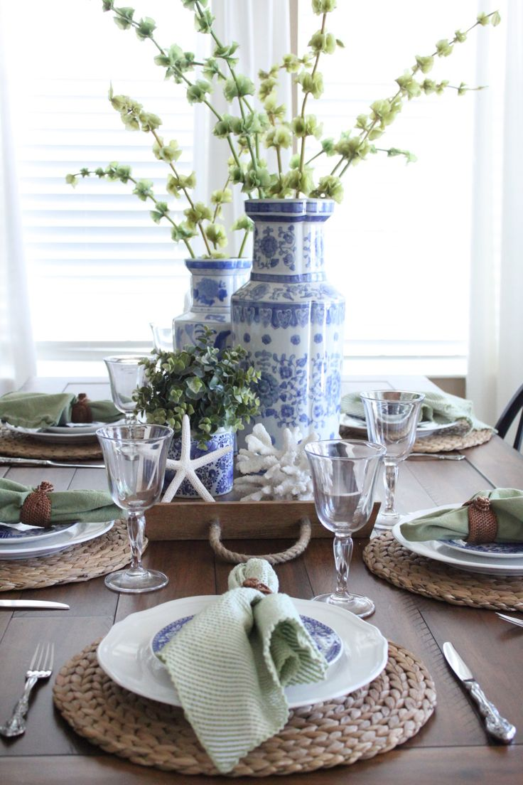 A Blue And Green Cottage Coastal Tablescape Starfish